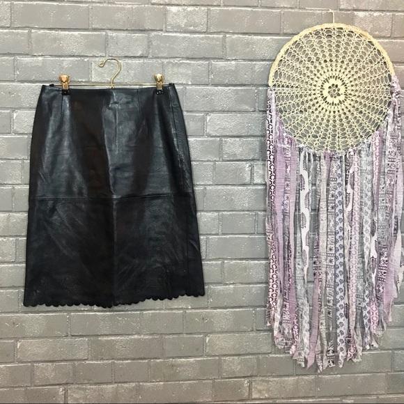 Louis Feraud Dresses & Skirts - feraud // vintage navy blue leather skirt fr 36